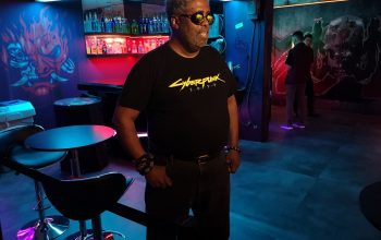 Mike Pondsmith at Cyberpunk 2077 event, via Twitter